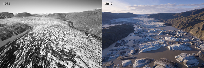Aerial images of Hoffellsjökull glacier taken in 1982 (left) and 2017 (right)