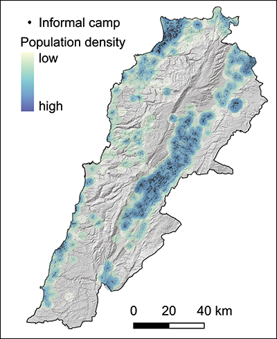 A map of refugee camp locations and population density in Lebanon.
