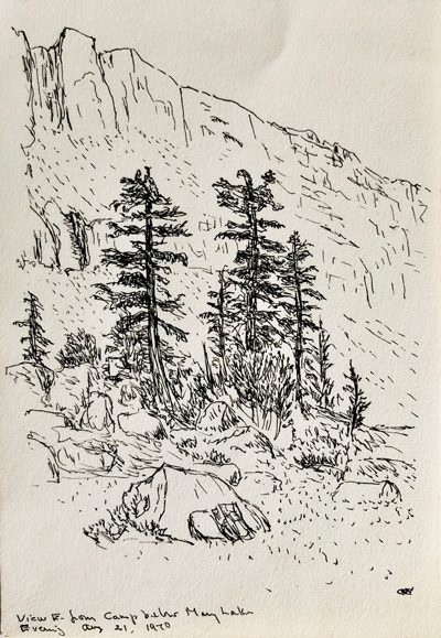 Black-and-white drawing of trees foregrounding a rocky cliff in Yosemite