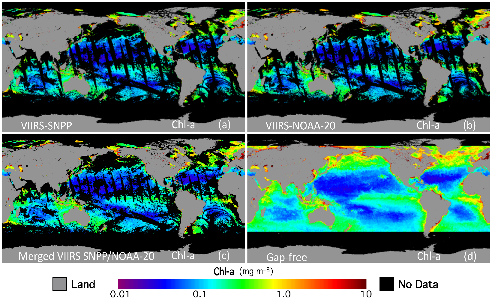 Sequence of global maps of chlorophyll a concentration on 29 July 2019 showing the effects of gap-filling data processing