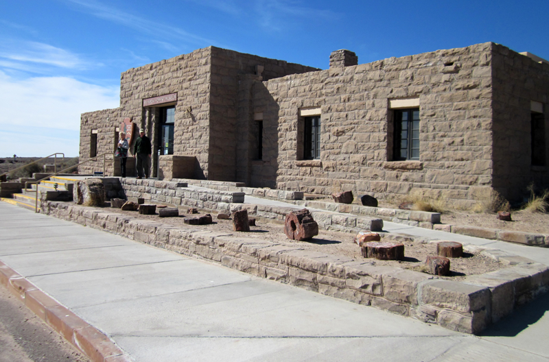 The access ramp landing up to the front entrance to the Rainbow Forest Museum at the Petrified Forest National Park
