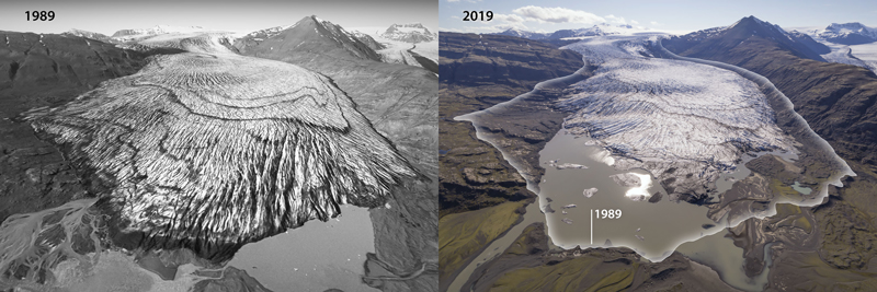 Images of Skálafellsjökull glacier taken in 1989 (left) and 2019 (right)