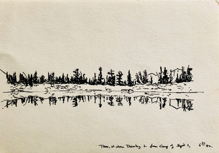 Black-and-white drawing of trees lining the shore of a lake