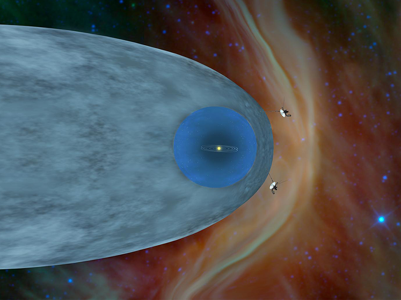 Two spacecraft flying outside the solar system in interstellar space