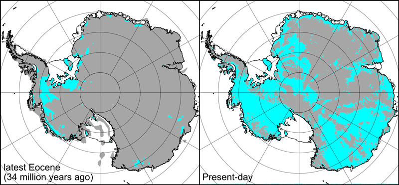 Two maps of the topography of Antarctica, comparing 34 million years ago and today
