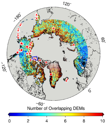 Map of the Arctic with regions color-coded for overlapping digital elevation models