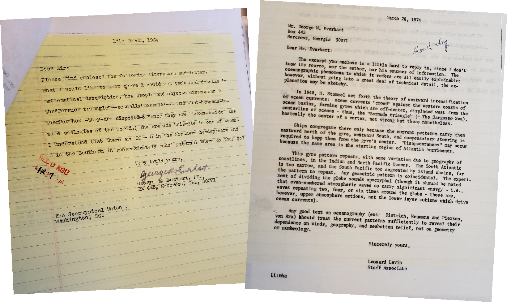 March 1974 letter (misdated 1954) from George Everhart to AGU requesting information about the Bermuda Triangle (left). March 1974 letter from AGU to George Everhart responding to questions about the Bermuda Triangle (right).