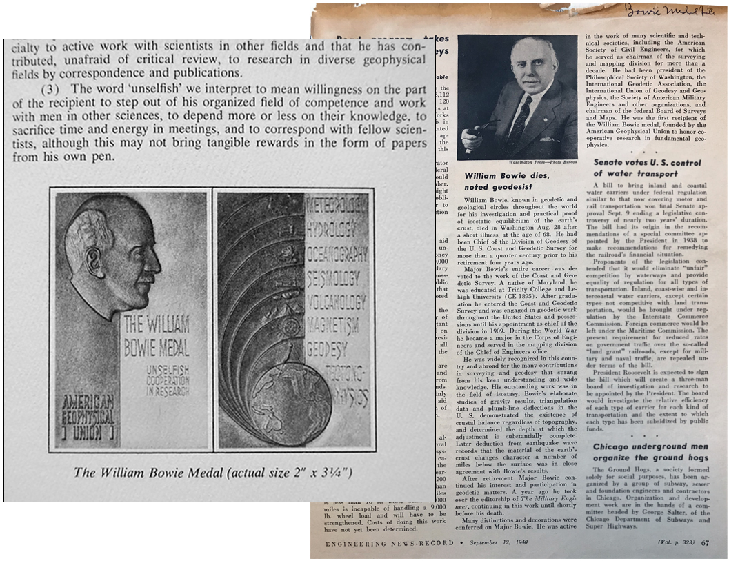 1960s award program depicting the William Bowie Medal (left). William Bowie's obituary in Engineering News-Record, 12 September 1940 (right).