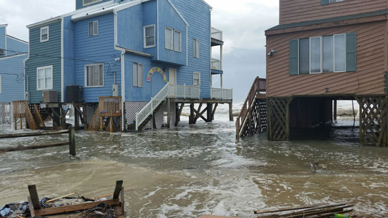 Floodwaters encroach on homes on the North Carolina coast in October 2015.