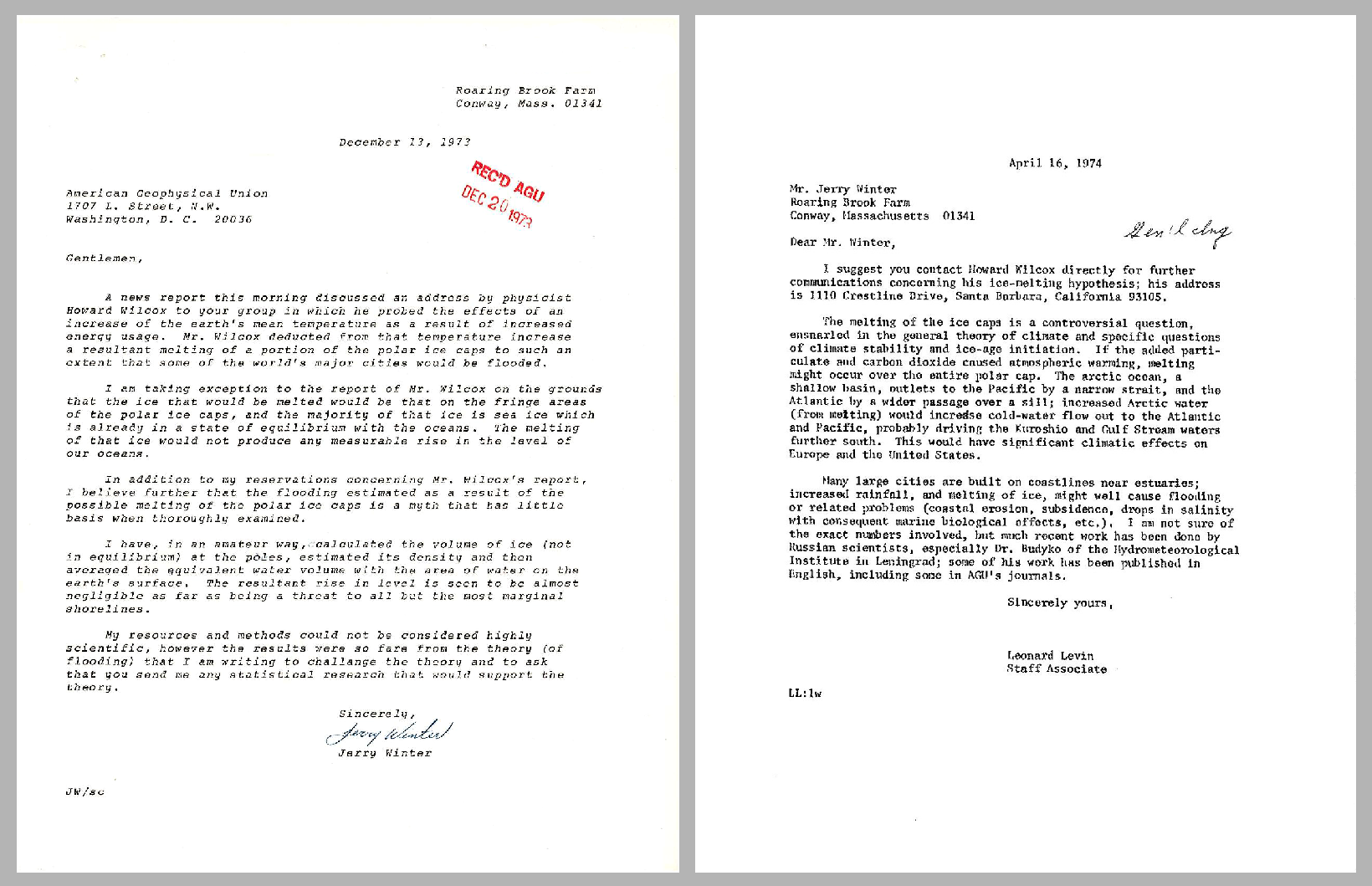 December 1973 letter from Jerry Winter to AGU challenging the idea that melting polar ice caps would cause flooding around the globe (left). April 1974 letter from AGU to Jerry Winter providing contact information for a scientist (right).