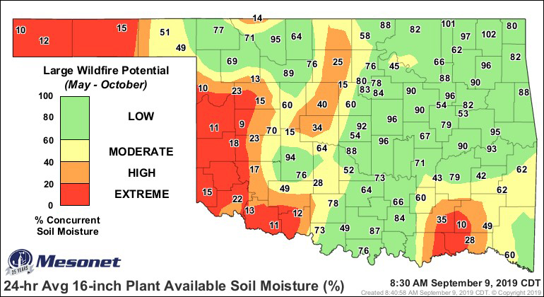 Estimated large wildfire potential across Oklahoma based on in situ soil moisture observations from the Oklahoma Mesonet.