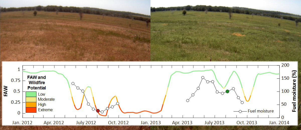 PhenoCam images collected over rangeland on 2 August 2012 (left) and 6 August 2013 (right) near Stillwater, Okla.
