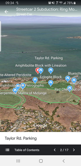 Screenshot of a mobile view of a Google Earth map