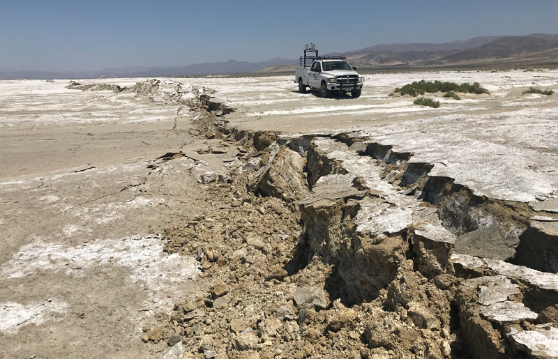 This large rupture in the ground surface in the Mojave Desert near Ridgecrest, Calif., was caused by a 5 July 2019 magnitude 7.1 strike-slip earthquake.