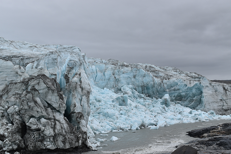 A partial collapse of the calving front of Greenland's Russell Glacier