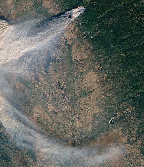 Satellite image of California's Camp Fire of 2018