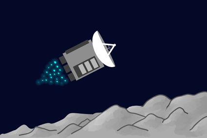 An illustration of a spacecraft flying over a moon's surface