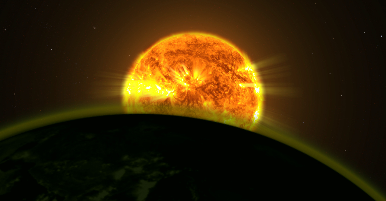 Artist's conception of an exoplanet atmosphere illuminated by starlight