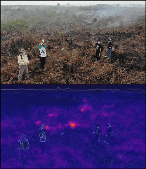 Drone photos of a team of researchers standing in a smoldering peat field, and an infrared photo of the same scene depicting heat sources.