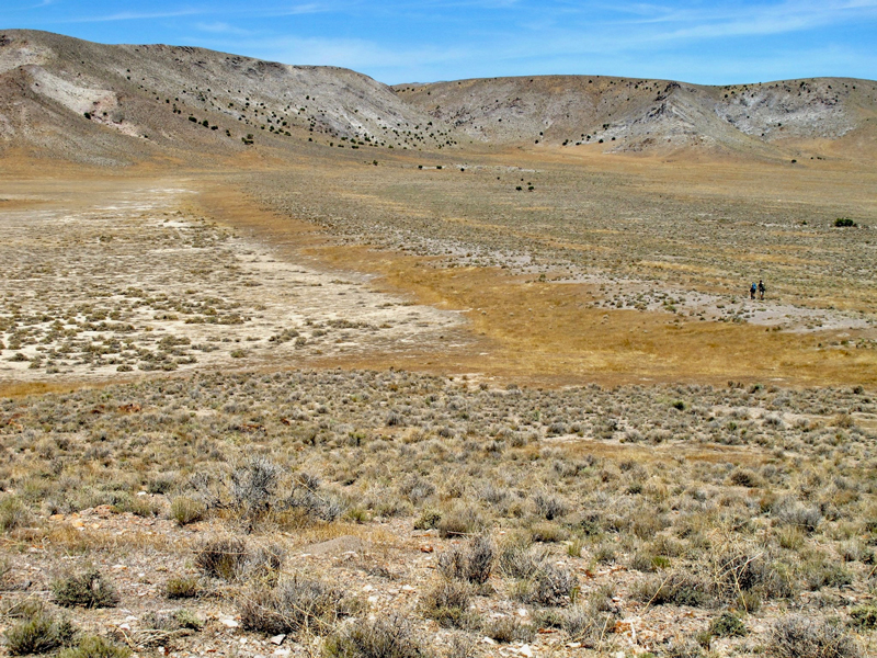 Arid valley shows the impression of an ancient lakeshore.
