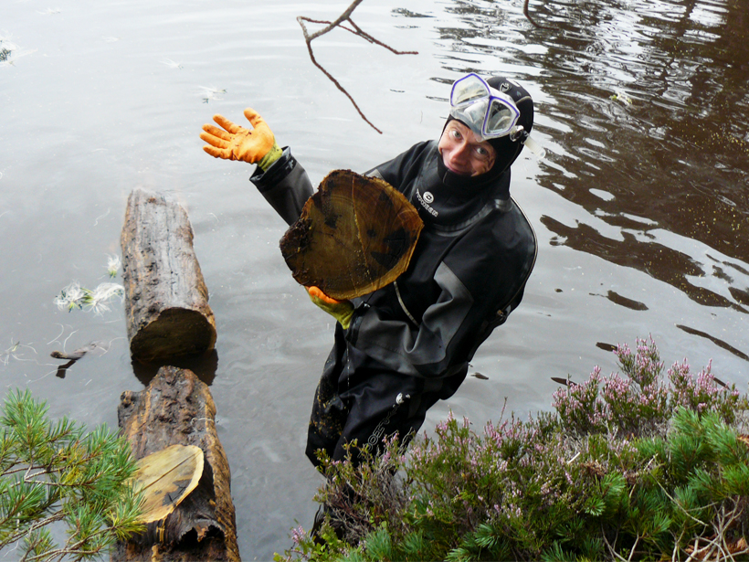 Man in a wetsuit holds a cross section of a tree while standing in a lake.