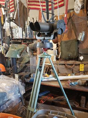tripod-mounted military surplus binoculars