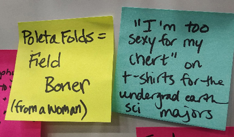 "A yellow Post-it says ""Poleta Folds = field boner (said by woman),"" and a blue Post-it says ""'I'm too sexy for my chert' on t-shirts for undergrad earth sci majors."""