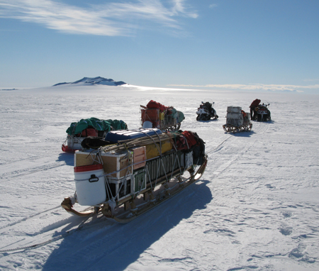 Sledges carry scientific equipment, food, tents, clothing, and emergency gear GHC project on 25 December 2019