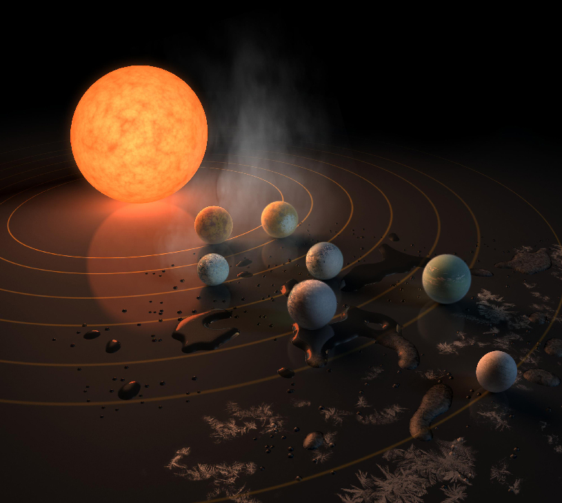 Artist's conception of seven small planets around a red star