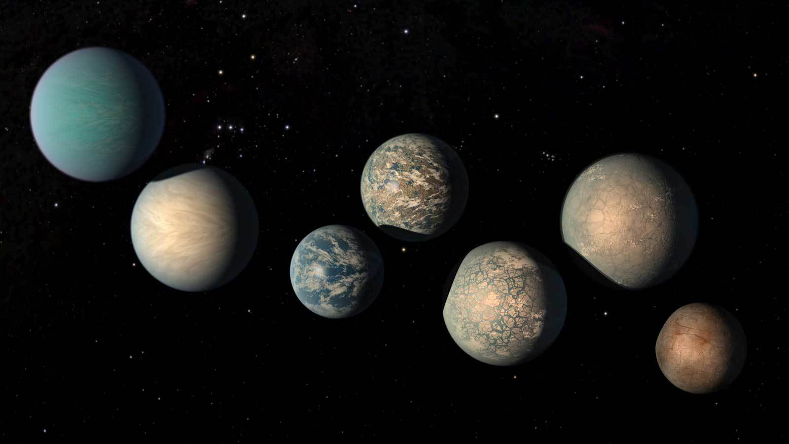 Illustration of the 7 planets of the TRAPPIST-1 system