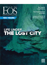cover of April 2019 issue of Eos