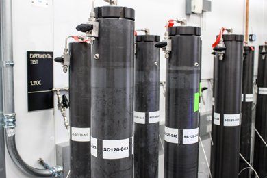 Cylinders containing pressurized cores of sediments rich in natural gas hydrates taken from beneath the Gulf of Mexico seafloor