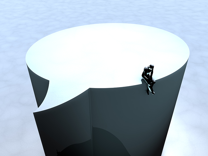 Stylized illustration of a lone person sitting atop a social media speech bubble
