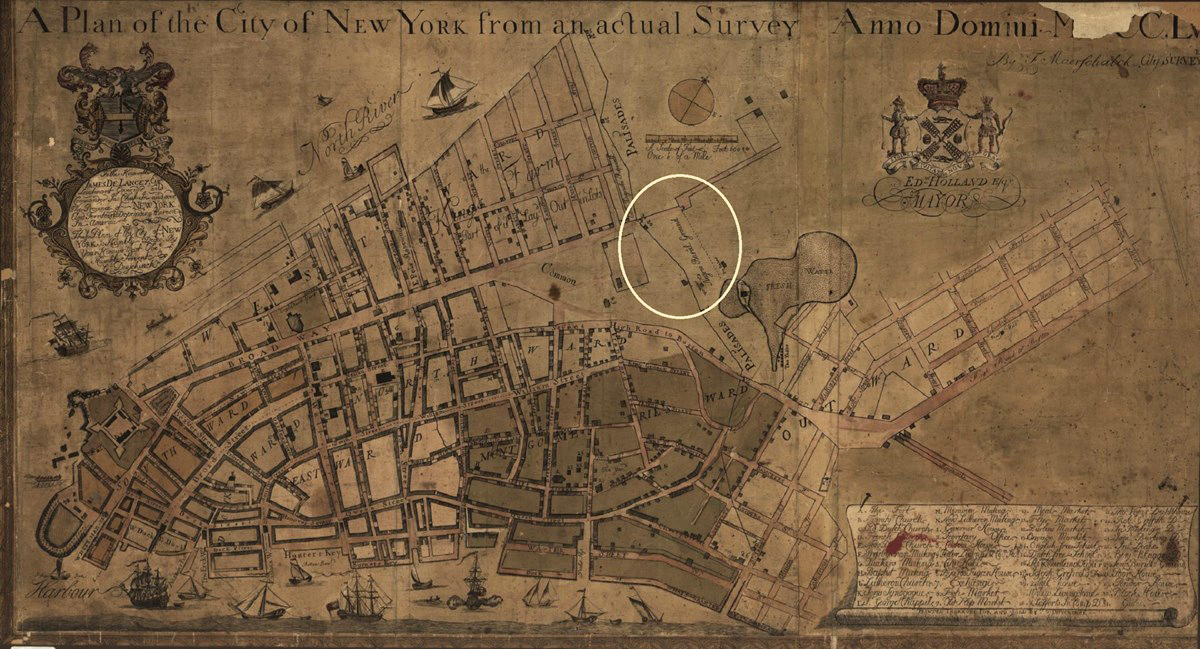 1754 map of New York City with the site of the African Burial Ground circled