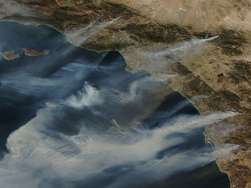 satellite image southern california fires 2007.