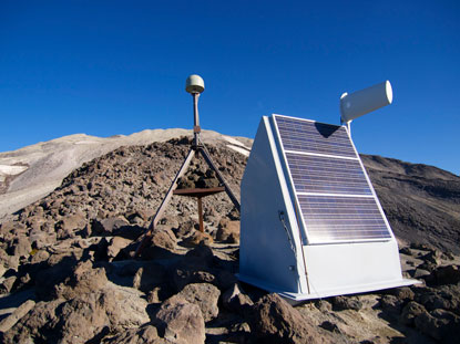 Solar panels power monitoring equipment on Mount Saint Helens