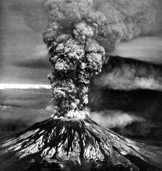 Black-and-white image of Mount Saint Helens erupting