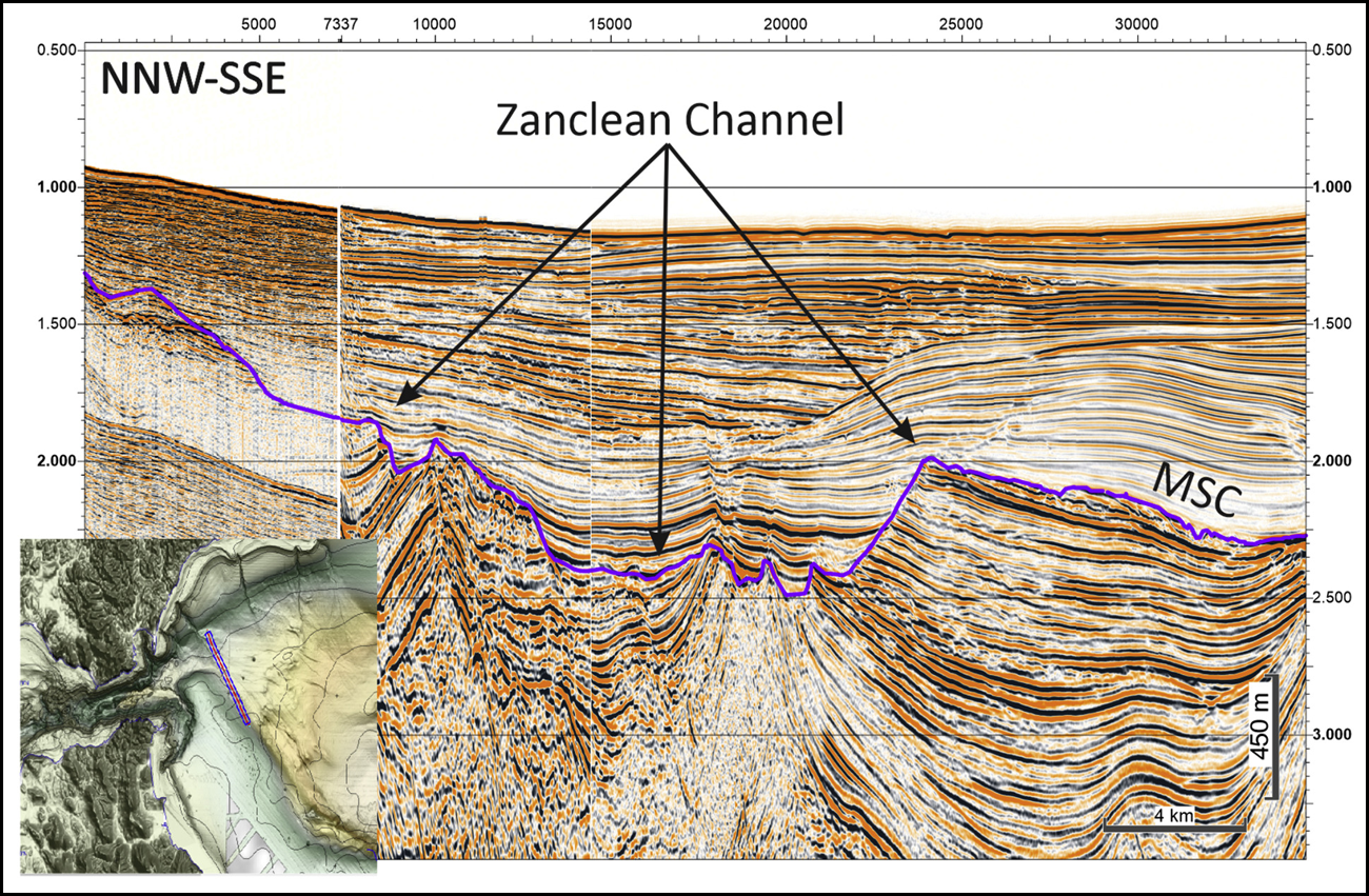Seismic profile of rock layers beneath the Strait of Gibraltar