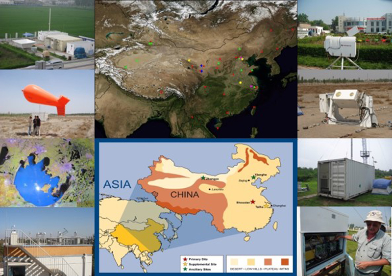 Collage of images showing major observation activities during the EAST-AIRc and AMF-China field experiments