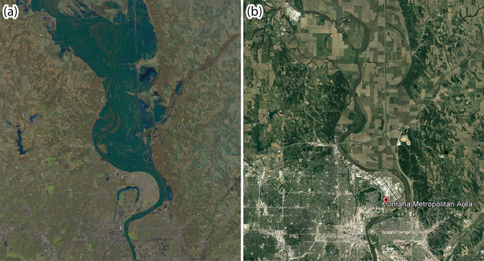 Satellite images showing (left) flooding on the Missouri River north of Council Bluffs, Iowa, on 16 March 2019 and (right) nonflood conditions in 2016 in the same area