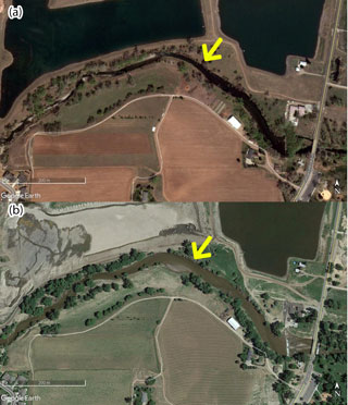 Google Earth images of part of the Big Thompson River before and after the 2013 Colorado River flood
