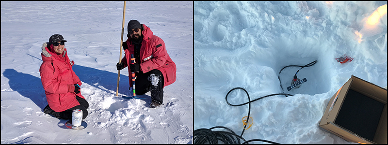 Photos showing (left) engineers installing a nodal seismic sensor at the Castle Rock test site near McMurdo Station, Antarctica, and (right) a deployed seismic sensor buried in snow.