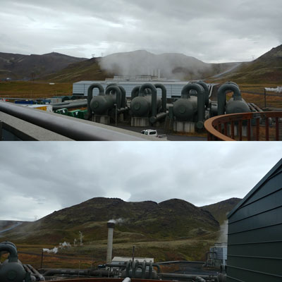 Two views of Hellisheiði Geothermal Power Station and the surrounding basalt formations.