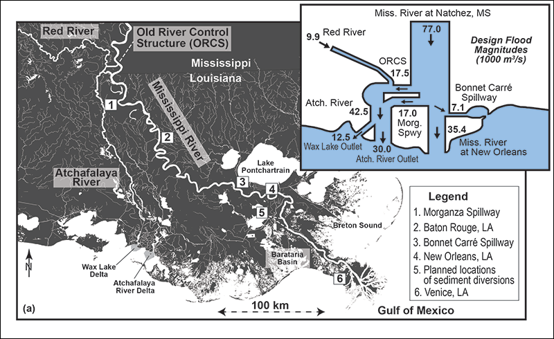 Map of the Deltaic Mississippi River and locations discussed in this article