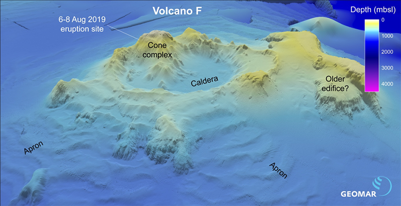 Composite bathymetry of Volcano F from ship-based multibeam data
