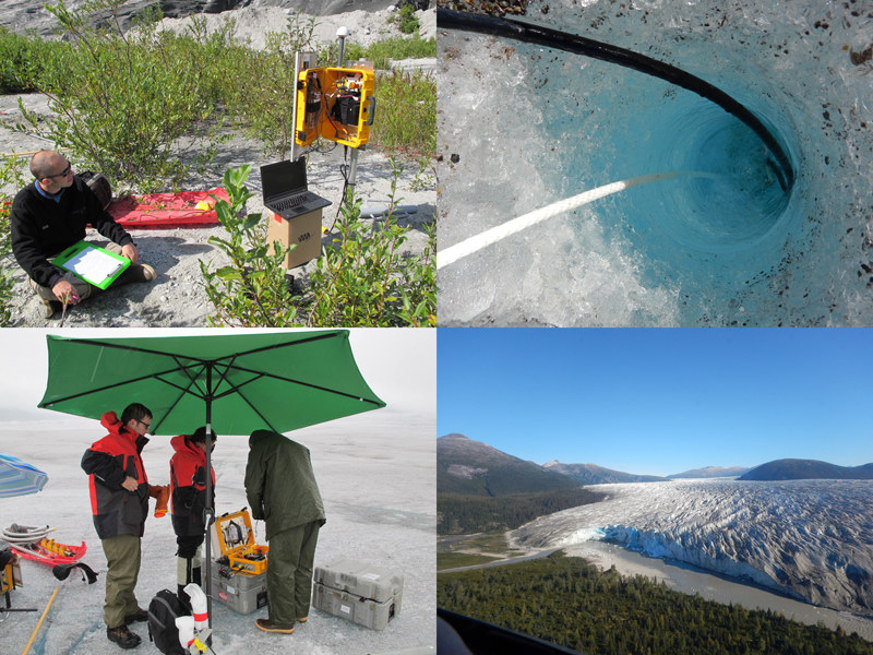 Sequence of four photos showing summer 2015 deployment of seismic instruments at Taku Glacier in Alaska