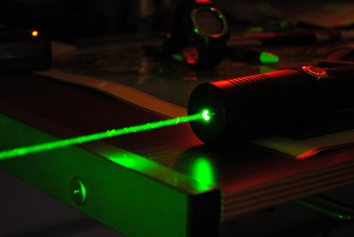 Photograph of a laser beam