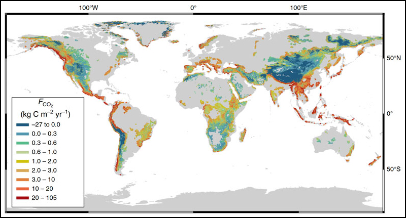 Map of the world with the carbon dioxide flux per unit area of mountain streams color-coded