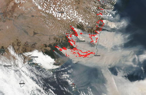 Satellite image of wildfire smoke over Australia
