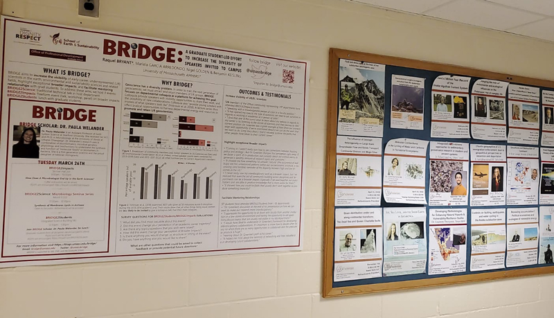 Posters hang in a hallway in the Department of Geosciences at the University of Massachusetts Amherst.